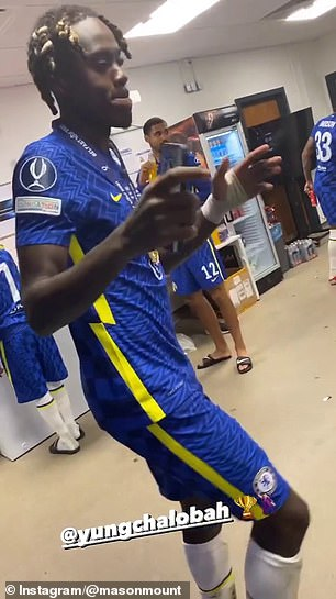 Chalobah, encouraged by Mount and Tammy Abraham, bust out some moves for the camera
