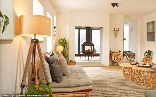 The couple bought the barn for £400,000 and spent over £350,000 renovating the property into a modern light-filled space (pictured, the main living room)