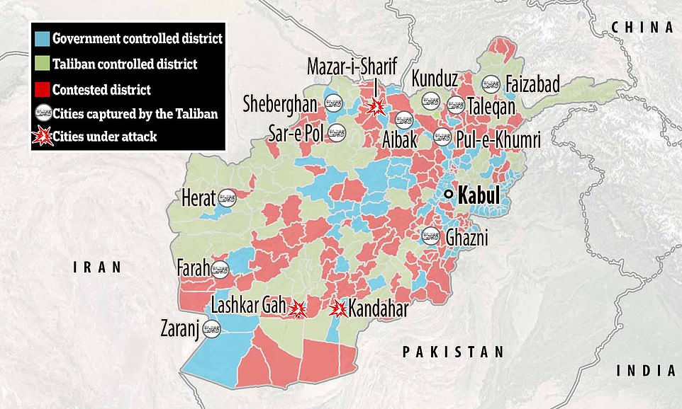 The Taliban has taken the city of Ghanzi, just 80 miles south of Kabul, and Herat in the west of the country. The fall of Ghanzi means Islamist fighters now control the main highways leading both north and south out of the capital Kabul. Herat is the country's third largest city and was the 11th provincial capital to fall in a week