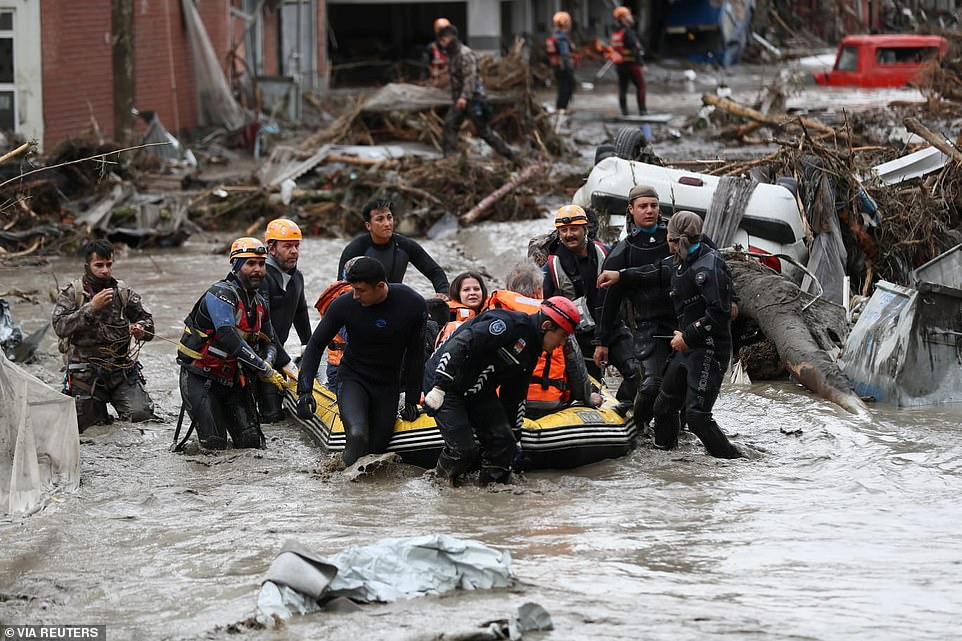 The death toll from Turkey's flash floods soared to 27 on Friday as President Recep Tayyip Erdogan prepared to inspect one of the hardest-hit regions and lend his moral support
