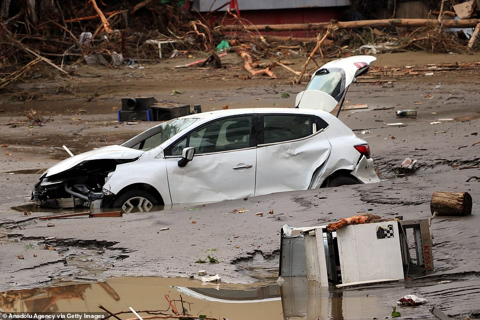 Cars were left strewn across streets and stuck in mud after floods and mudslides hit a residential area in Bozkurt district of Kastamonu in Turkey