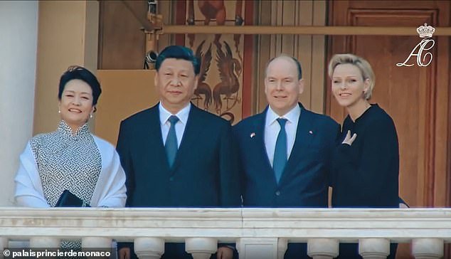 State visit: Charlene and Albert welcomed Chinese president Xi Jinping and his wife to Monaco in 2019. Charlene put her arm around her husband for this photograph