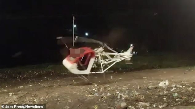 This is the shocking moment a 24-year-old man was fatally injured by a flying rotor blade after his test flight of his homemade helicopter went horribly wrong