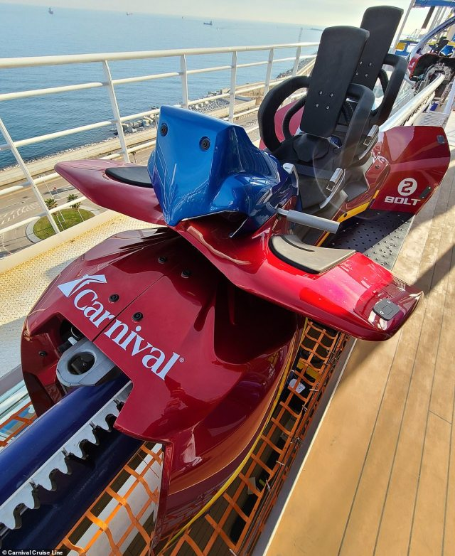 The roller coasterallows two riders to strap in to a motorcycle-like vehicle and race one another