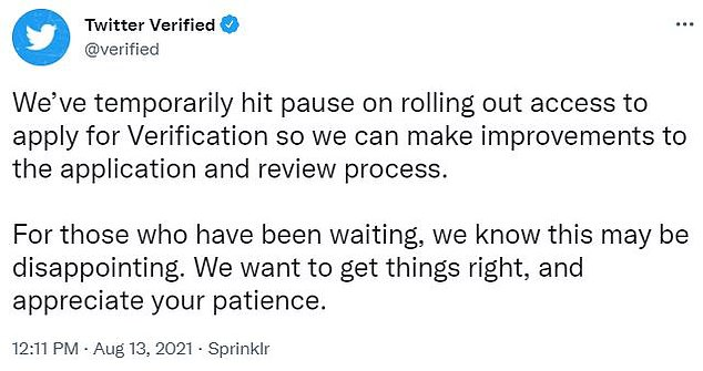 Twitter proudly relaunched its verification program in May, allowing users to apply for the coveted blue checkmark for the first time in four years, but on Friday the social media platform hit the pause button, again