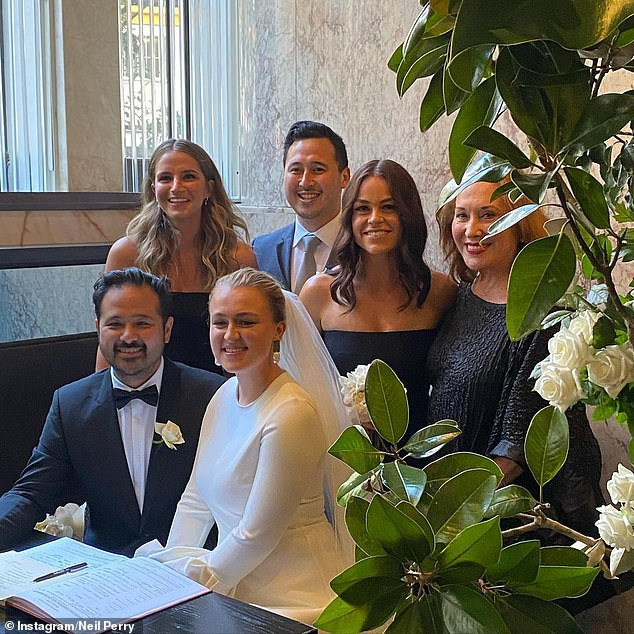 Happier occasions: Earlier this year his eldest daughter, Josephine, tied the knot with her partner Michael Clift at the family's Rockpool restaurant in Sydney