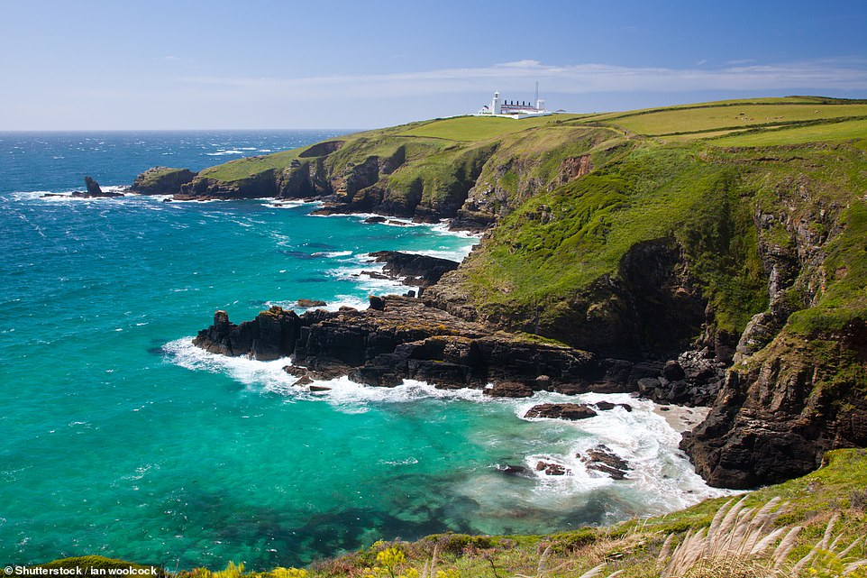 Rugged: Toby drove to the wild coastline of Lizard Point for a cliff walk and to soak up the stunning views