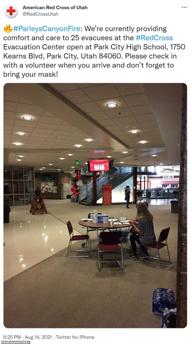 The American Red Cross has set up an evacuation centerat Park City High School. They remind residents to bring a mask and check in with a volunteer when they arrive