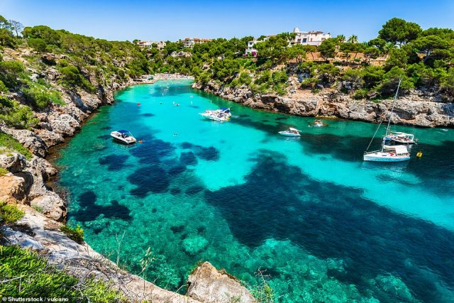 Ted and his family discovered some stunning beaches on Mallorca's south coast - including Cala Pi (pictured)