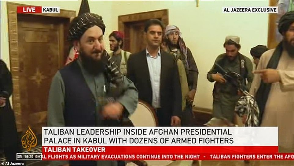 Taliban are seen inside the presidential palace in Kabul amid a withdrawal of western forces