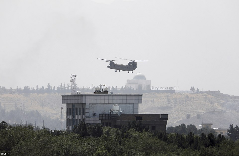 A US Air Force helicopter was seen taking off from the US embassy Sunday