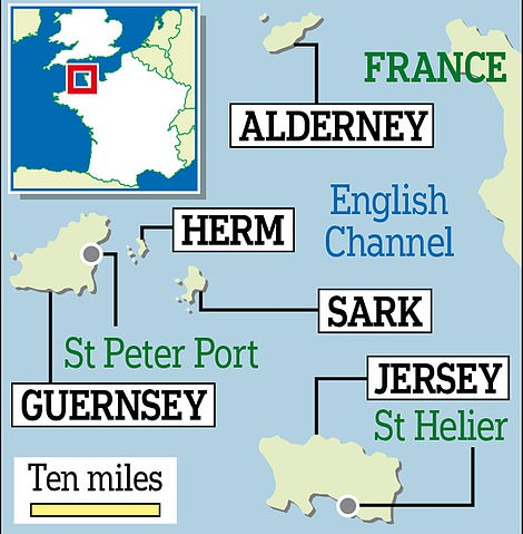 A map showing the Channel Islands, of which Guernsey is the second-largest