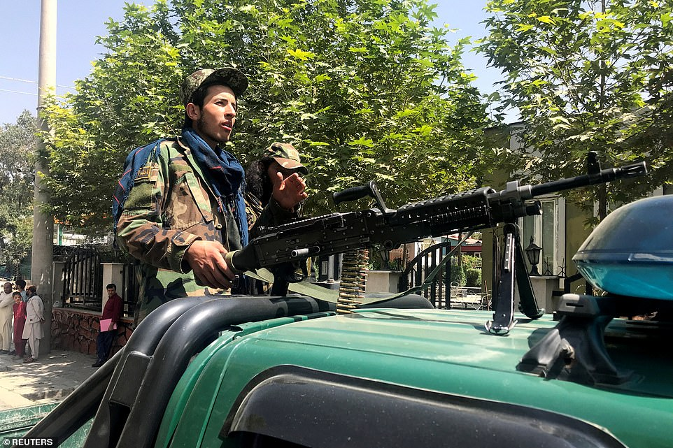 Pictured: Taliban forces patrol in Kabul, Afghanistan, August 16, 2021. Taliban officials said they had received no reports of any clashes anywhere in the country as they took control in little over a week