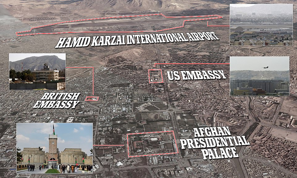 Pictured: A map of Kabul showing the locations of the Afghan Presidential Palace, the British Embassy and the airport