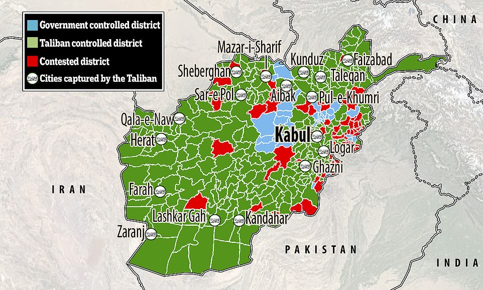 Pictured: A map showing the Afghan districts taken by the Taliban (green), those being contested (red) and those still under the control of the government (blue). Cities captured by the Taliban are also shown