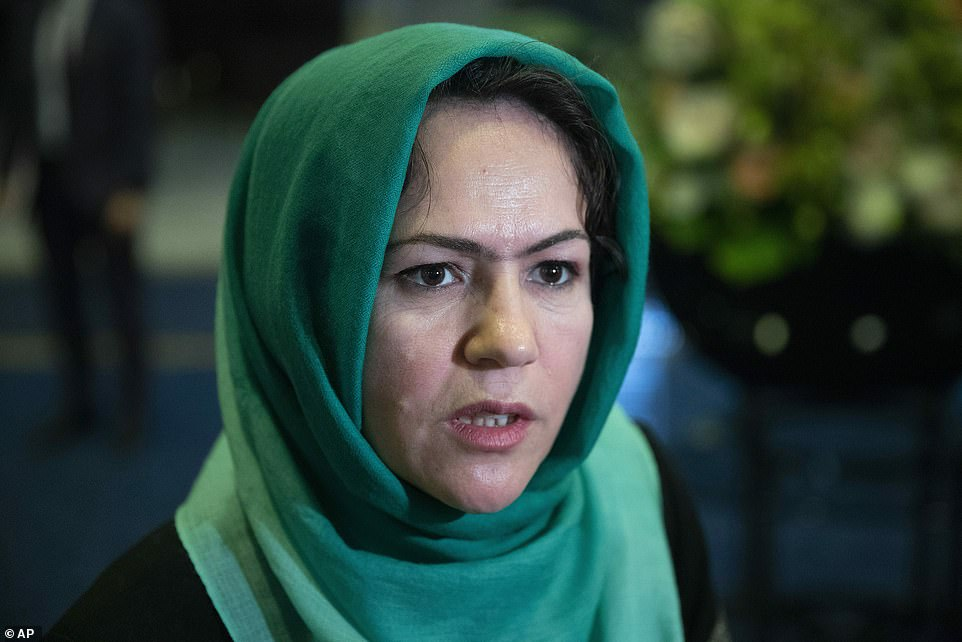 Pictured:Fawzia Koofi, a rights activist and politician, and Afghanistan's former deputy speaker of parliament, said that she spent her day horrified for the people of Kabul