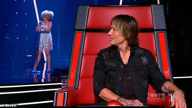 Dominant: The Voice continued its dominance in the 7:30pm time slot with 1.158 million metro viewers, making it the most-watched entertainment show onMonday night. Pictured: The Voice coach Keith Urban reacts to Tina Turner impersonator Rebecca O'Connor's audition