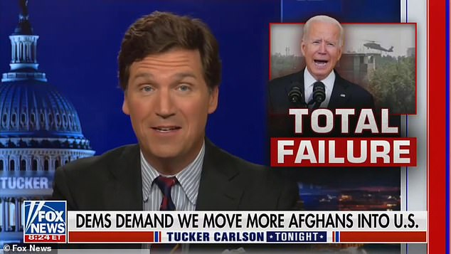Tucker Carlson slammed the Biden administration over its plan to allow 30,000 Afghan refugees into the US on Tuesday night, branding it an 'invasion'