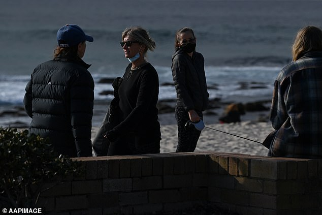 At the moment the R-rate is now 1.3, meaning every 10 people who catch the devastating respiratory illness will pass it on to another 13 (pictured, Bronte Beach in Sydney's east)