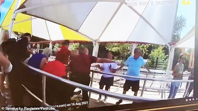The victim was crying and screaming in agony after a metal object fell from the rollercoaster