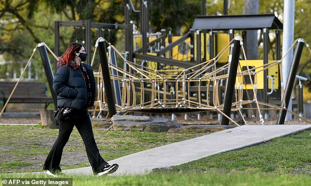 The spike will likely shatter hopes Melbourne's outbreak is heading in the right direction, with restrictions already extended until at least September 2 and millions living under tough restrictions (pictured, a closed down playground in the city)