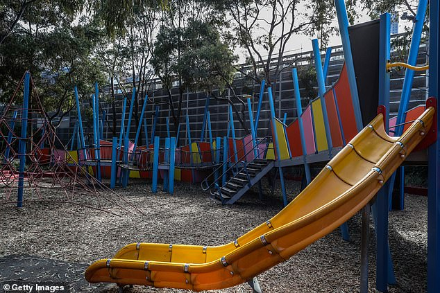 Playgrounds have also controversially been shut under the ultra-strict lockdown (pictured, an empty Melbourne play area)