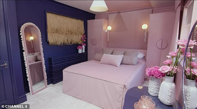 Lisa's dated, eclectic bedroom with a washed-out color scheme was transformed into an extravagant, modern 70s-style room with pink and purple statement walls and vibrant décor-including an art socket made of fake blonde hair
