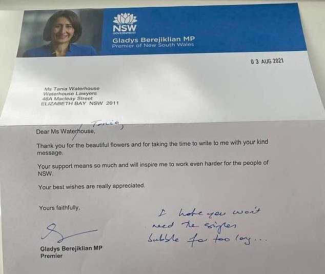 A photo of the letter (pictured) the premier sent to Ms Waterhouse has gone viral, leaving Australians divided over Ms Berejiklian's handling of the Covid crisis