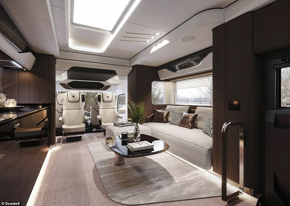 In the front cabin there are captain's seats for the driver and three passengers, as well as an additional queen bed that lifts up and out of sight