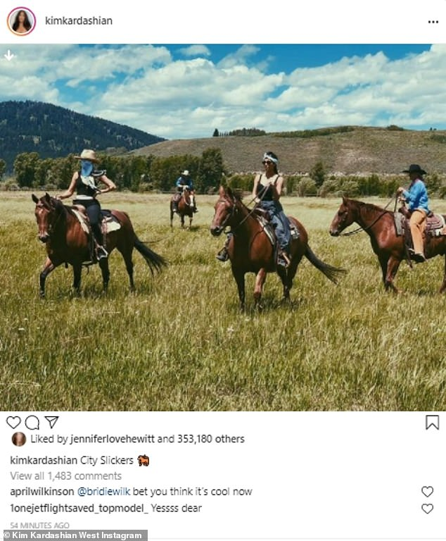 Fun:Kim Kardashian looked serene as she went horseback riding with her sister Khloe and Corey Gamble in her latest Instagram post