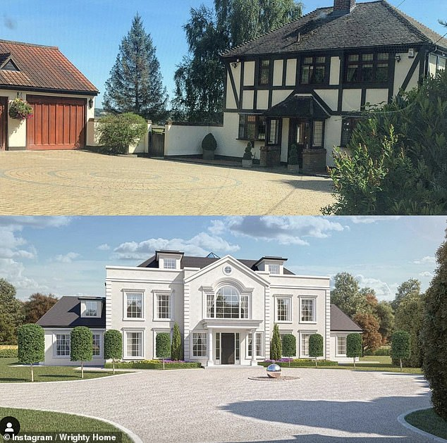 Wow! It comes after it was revealed her dream '£3.5million' family home in Essex is still far from completion despite work starting on it over a year ago (before, top, and the CGI plans)