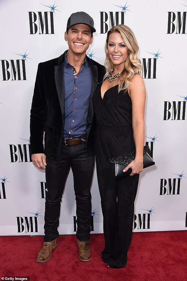 Parents of four! Country singer Granger Smith, 41, announces the birth of his fourth child, a son by the name of Maverick Beckham, with wife Amber; pictured 2017