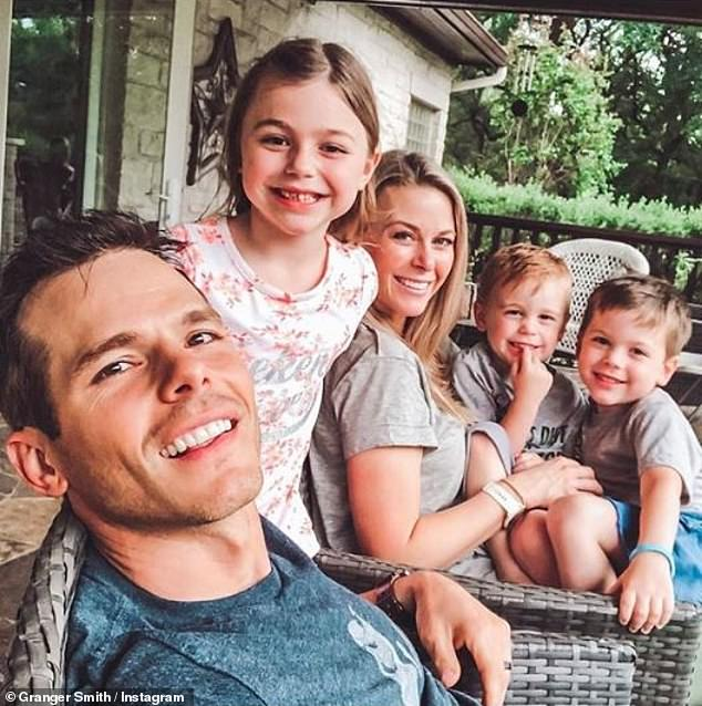 Family: Granger and Amber are parents to daughter London, nine, Lincoln, seven (right) and their late son River (center) who tragically passed away in June 2019 after an accidental drowning ;pictured May 2019