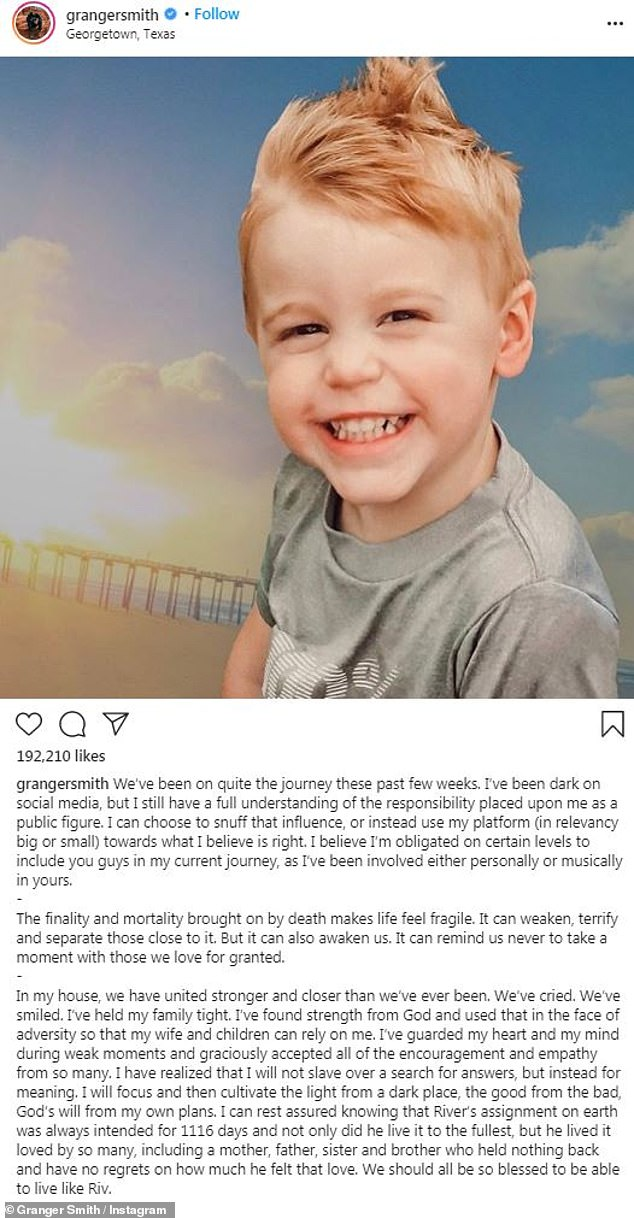 Tragedy: Their then three-year-old son River had somehow managed to enter their fenced pool at their Texas home in June 2019 which led to his accidental drowning, and he addressed the tragedy on social media