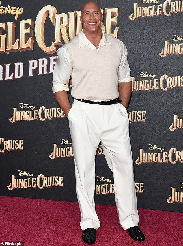 Busy man: It's surprising the actor has time to hit the gym given the number of new projects he has on his roster; Johnson pictured in 2021
