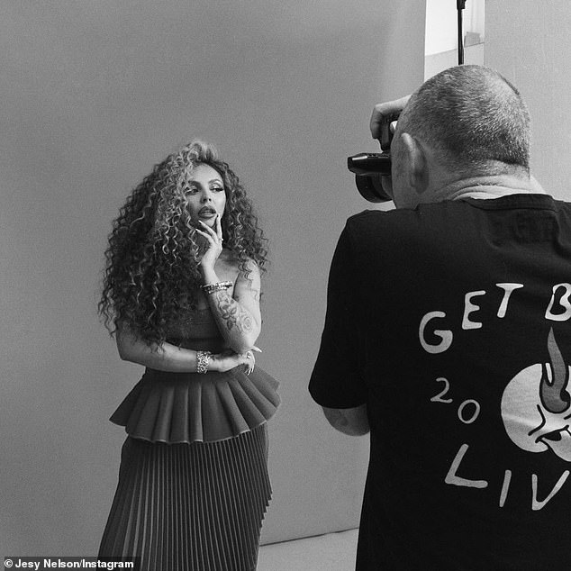 Wow: The singer, 30, looked stunning in the black and white images as she wore her locks in their natural curls and donned a pleated bustier jumpsuit for her upcoming interview