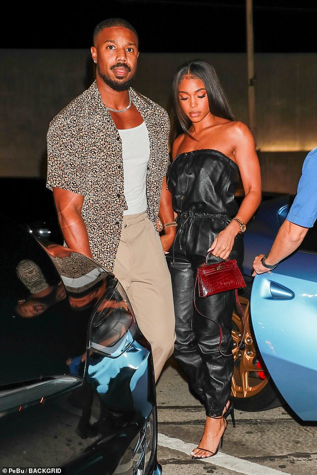 Loved up:Michael B Jordan, 34, and his girlfriend Lori Harvey, 24, put on an amorous display during a date night to Craig's in West Hollywood on Friday