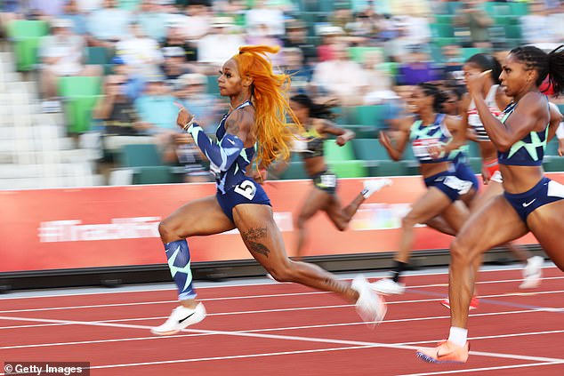 Sha'Carri Richardson competes in the Women's 100 Meter final on day 2 of the 2020 U.S. Olympic Track & Field Team Trials at Hayward Field on June 19