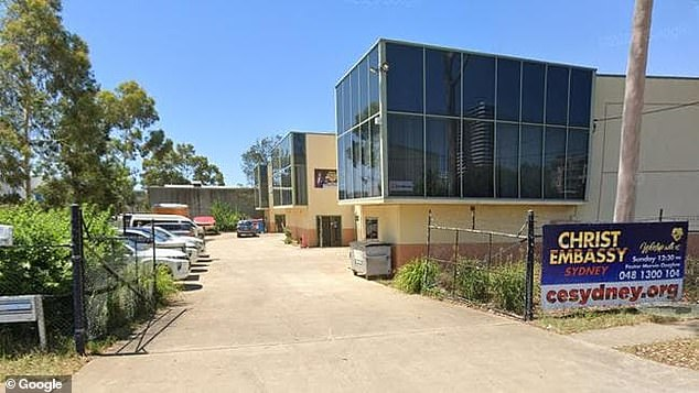 Police allege there were no mandatory QR codes when they were called to Christ Embassy Sydney (pictured) in the Covid-19 hotspot of Blacktown on Sunday night