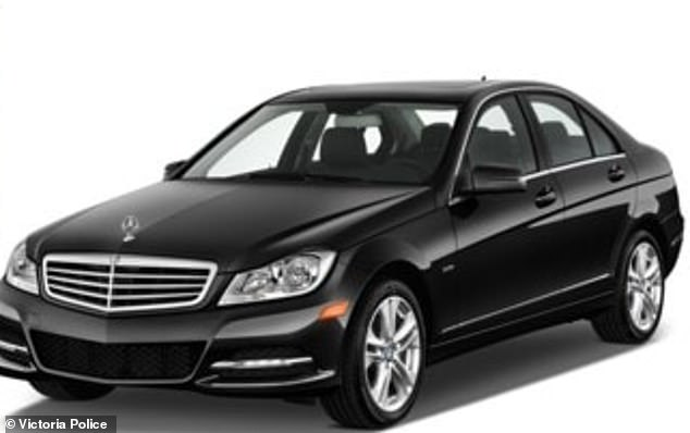 A stock photo of the 2014 black Mercedes C200 sedan that was stolen from the home