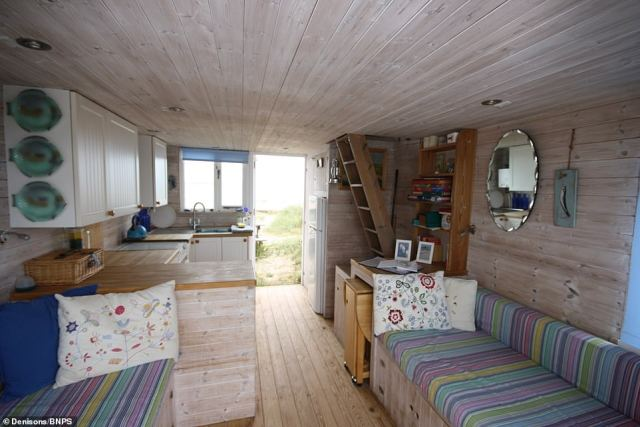 The interior of the £325,000 currently on sale.The huts at Mudeford have no mains electricity or running water and shower facilities are in a shared communal block