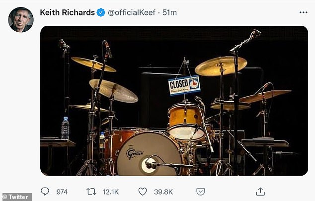 Poignant: Richards shared a poignant Twitter photo of the Rolling Stones' drum kit with a 'closed' sign hanging from it
