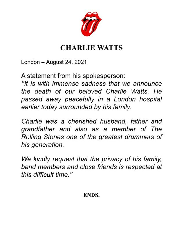 Charlie Watts dead: Mick Jagger and Keith Richards pay tribute to rocker