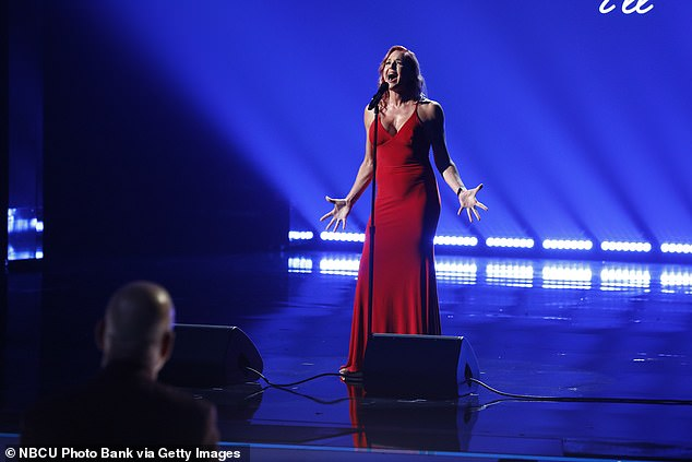 Wildcard winner:The show then showed a clip of Simon calling Storm Large, 52, to tell her that she was coming onto the live show because the public voted her through as the winner of the wildcard show