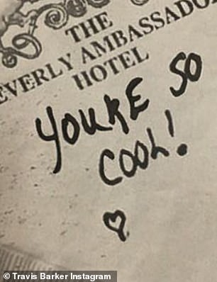 Tribute: The rocker replicated the note that Alabama (Patricia Arquette) writes for Clarence (Christian Slater) on a hotel napkin in the 1993 movie