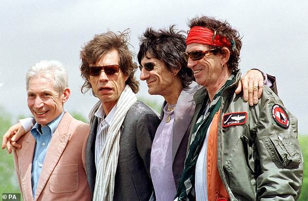 Legendary: Alongside frontman Sir Mick and guitarist Keith Richards, Watts was among the longest-standing members of the Stones, which has seen a shifting line-up of musicians including Mick Taylor, Ronnie Wood and Bill Wyman (pictured 2002)