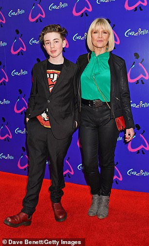 Matching:Catastrophe star Ashley Jansen made the show a family affair, attending with her son Francis, 11