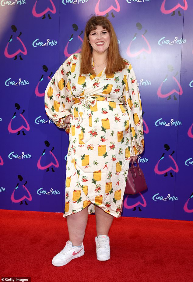 Fashion: Jenny Ryan opted for a white dress with an orange and green print along with white trainers