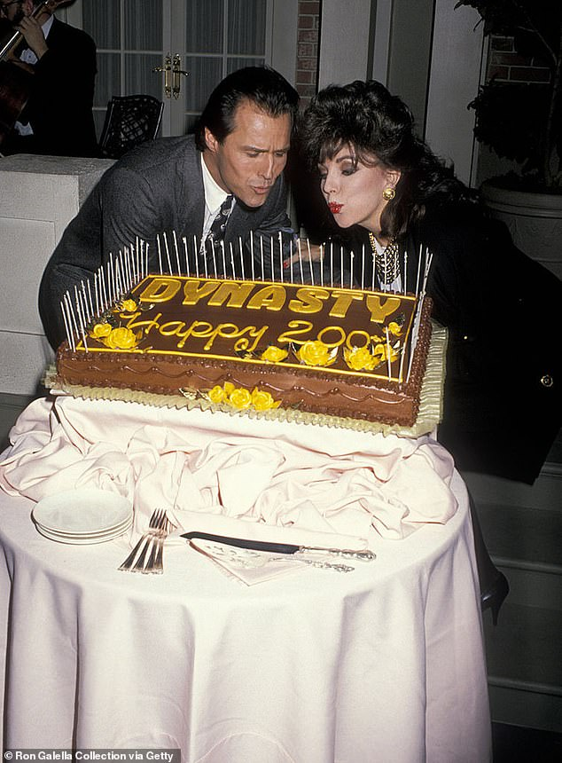 They were close pals: Nader and Collins attending Party for the 200th Episode of Dynasty in 1988 at the Dynasty Set in Hollywood