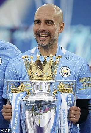 Guardiola with the Premier League trophy in 2021